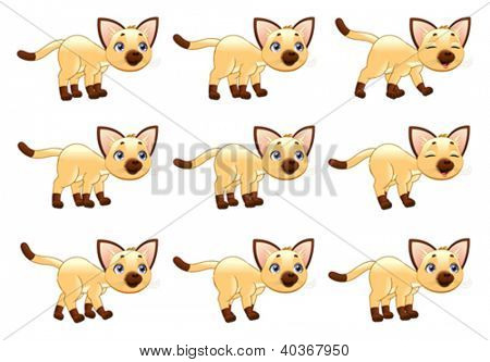 Cat walking animation. Cartoon vector isolated objects. Separate layers: Head, Ears, Body1, Body2, Tail, Front Leg x 2, Rear Leg x 2, Paws x 4