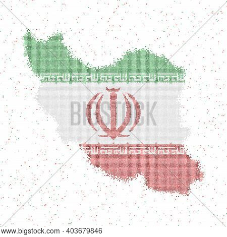 Map Of Iran. Mosaic Style Map With Flag Of Iran. Vector Illustration.