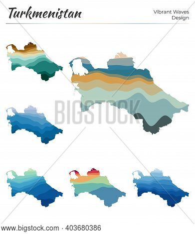 Set Of Vector Maps Of Turkmenistan. Vibrant Waves Design. Bright Map Of Country In Geometric Smooth