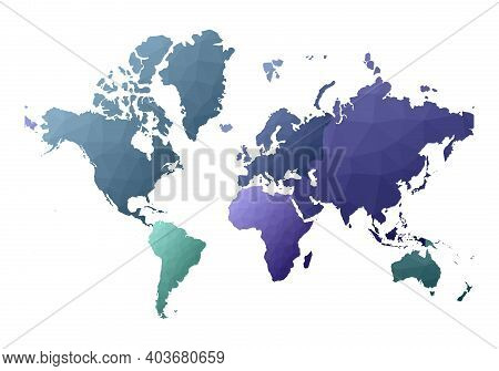 World Map. Curious Low Poly Style Continents. Vector Illustration.