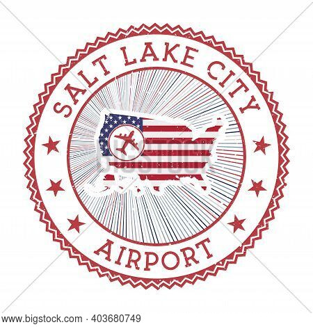 Salt Lake City Airport Stamp. Airport Logo Vector Illustration. Salt Lake City Aeroport With Country