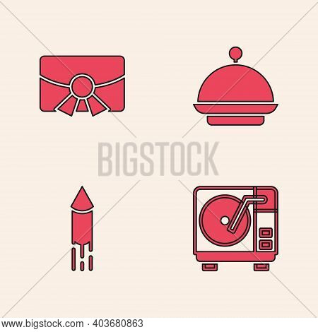 Set Vinyl Player With Vinyl Disk, Christmas Postcard, Covered Tray And Firework Rocket Icon. Vector