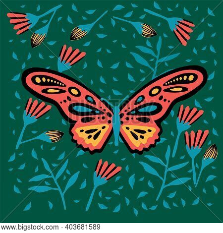 Poster With A Butterfly In Flowers. A Picture In A Green Rainforest. The Doodle Depicted A Soaring,