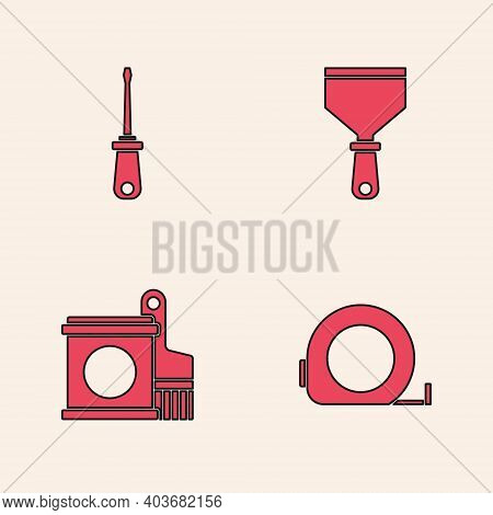 Set Roulette Construction, Screwdriver, Putty Knife And Paint Bucket And Brush Icon. Vector
