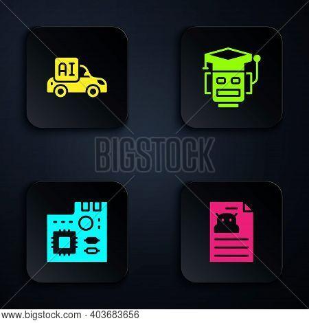 Set Technical Specification, Autonomous Smart Car, Motherboard Digital Chip And Robot. Black Square