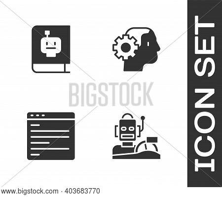 Set Robot Humanoid Driving A Car, User Manual, Computer Api Interface And Humanoid Robot Icon. Vecto