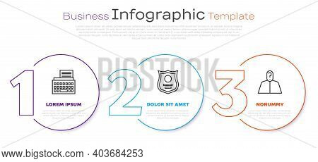 Set Line Retro Typewriter, Police Badge And Anonymous With Question Mark. Business Infographic Templ