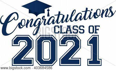 Blue Congratulations Class Of 2021 Graduation Graphic  Banner