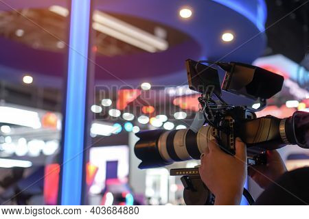 Media Television Film Production And Interview Reporter Concept: Video Recorder Movie Recording Film