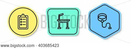 Set Line Grooming Salon Price List, Pet Grooming Table And Retractable Cord Leash. Colored Shapes. V