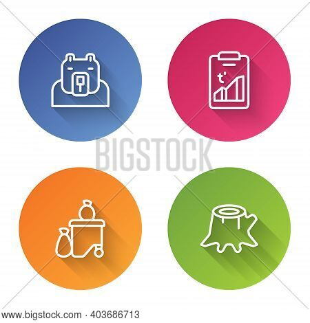 Set Line Polar Bear Head, Global Warming, Full Dustbin And Tree Stump. Color Circle Button. Vector