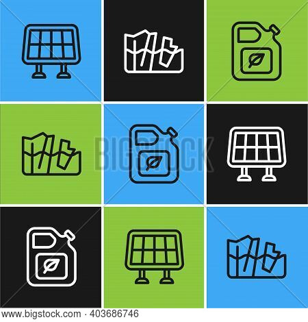 Set Line Solar Energy Panel, Bio Fuel Canister And Glacier Melting Icon. Vector