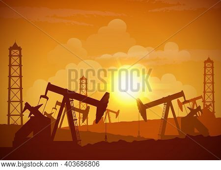 Silhouette Of An Oilfield Derrick Industrial Machine For Drilling At Sunset Background Vector Illust