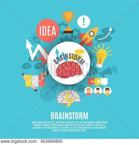 Flat Poster Composed Of Different Brainstorm Icons Including Red Brain In Center On Blue Background