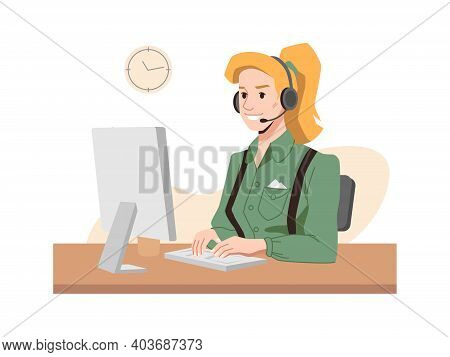 Call Center Worker, Blonde In Headphones, Hotline Operator At Workplace, Woman Typing On Computer. G