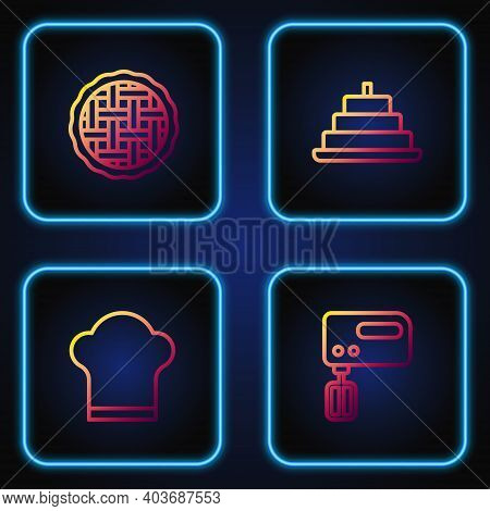 Set Line Electric Mixer, Chef Hat, Homemade Pie And Cake With Burning Candles. Gradient Color Icons.
