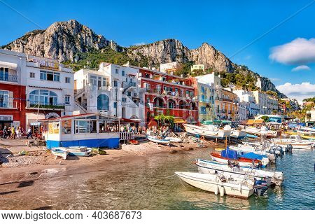 Capri, Italy - September 17, 2009: View Of The Town Of Marina Grande, The Main Port Of The Island Of