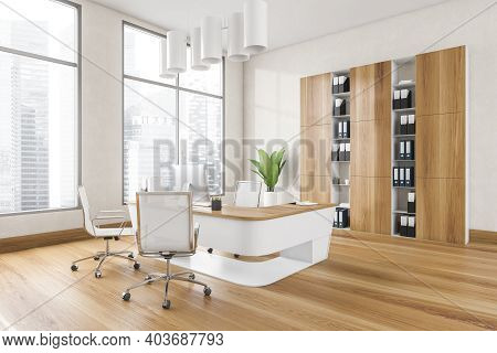 Wooden White Office With Armchairs, Table With Computer And Shelf Near Window With City View. Busine
