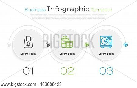 Set Line Christmas Shopping Bag, Gift Box And Vinyl Player With Vinyl Disk. Business Infographic Tem