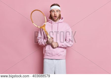 Shocked Tennis Player Holds Racket Wears Headband Sweatshirt Stunned To Lose Competition Leads Activ