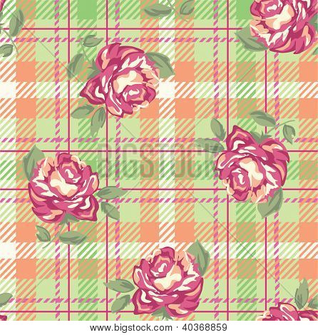 roses over plaid seamless background