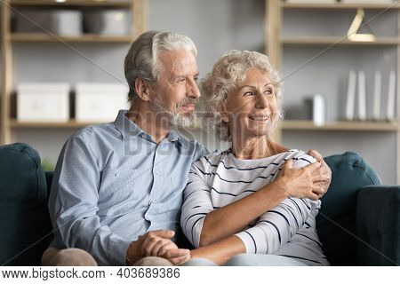 Dreamy Middle Aged Senior Retired Family Couple Relaxing On Sofa.