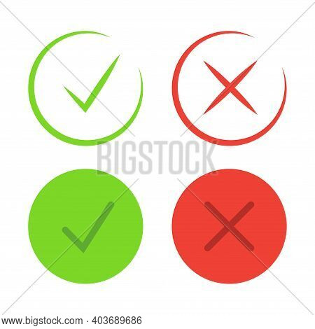 Check Mark Icons. Thin Line. Symbols Of Approving And Declining. Check Tick In Green Color And Rejec