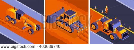 Isometric Road Construction Design Concept With Square Compositions Of Road Machinery On Different M