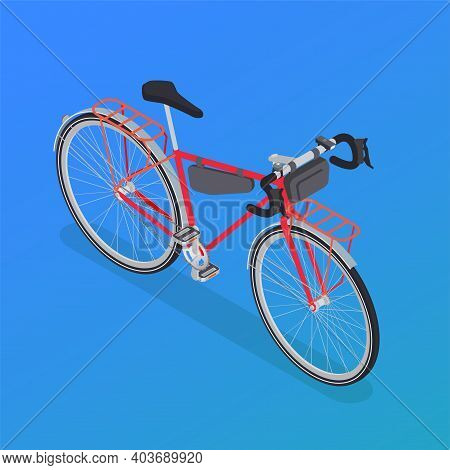 Bicycle Isometric Composition With Isolated Image Of Cruiser Bike With Piece Covers Luggage Carriers