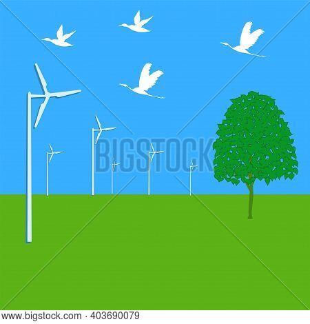 Nature, Spring, Flying Birds, Tree, Wind Generator - Illustration, Vector. Renewable Energy Resource