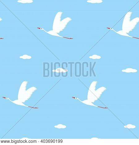 Pattern - Flying Cranes, Clouds - Vector. Spring Mood. Bird Life.