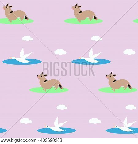 Pattern - Flying Wild Ducks, Clouds, Little Corgi Looks At Birds - Vector. Spring Mood. Life Of Anim