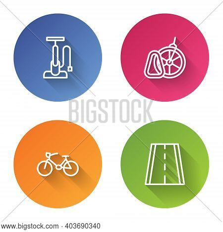 Set Line Bicycle Air Pump, Parking, And Lane. Color Circle Button. Vector