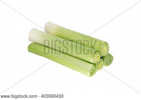 Green Fresh Leek Isolated On White Background