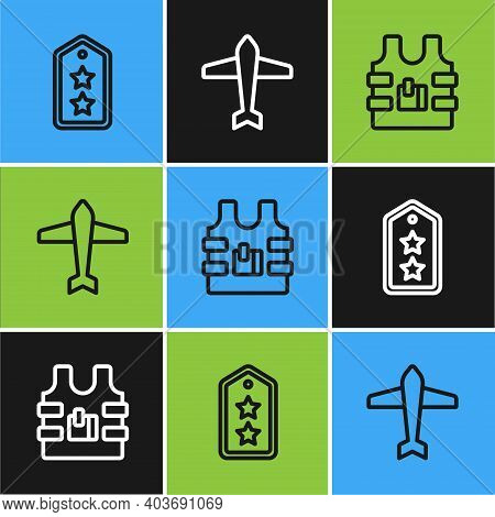 Set Line Military Rank, Bulletproof Vest And Jet Fighter Icon. Vector