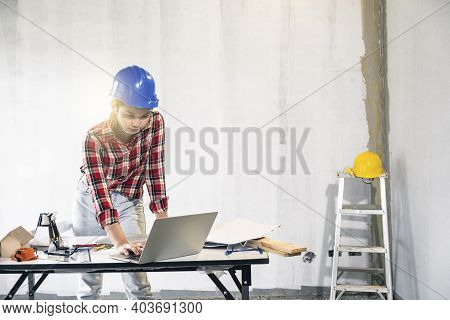 Young Asian Foreman Engineering Home Inspection Building House Walk Home Inspection With Looking And