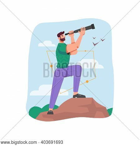 Leader Using Spyglass For Seeking Future Opportunities And Business Success. Isolated Man With Futur