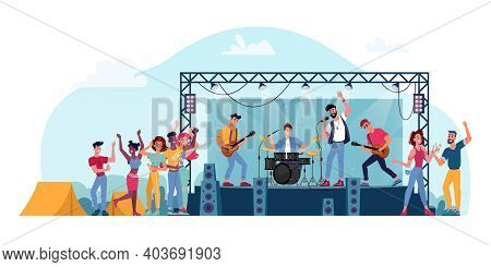 Open Air Festival, Rock Band On Stage Isolated Musicians And Crowd Of Fans People. Vector Music Play
