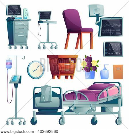 Hospital Ward Interior And Equipment Set Of Cartoon Icons. Vector Medical Post-operation Recovery Be