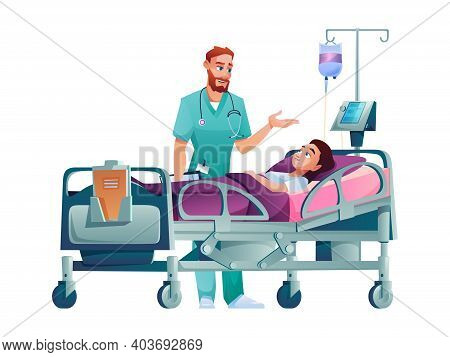 Doctor Talks About Treatment To Patient In Hospital Bed Isolated. Vector Practitioner And Ill Person