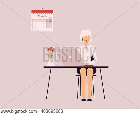 March 8 International Women's Day.cute Blonde Woman In White Blouse Ind Black Skirt Work On Laptop.v