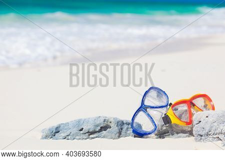 Diving Goggles And Snorkel Gear Stone Near Beach