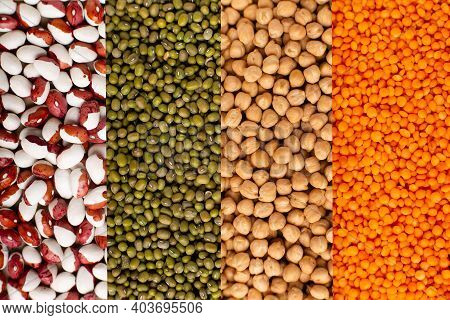 Colorful Legumes: Chickpeas, Lentils, Beans Collage Top View. Website Header Banner.