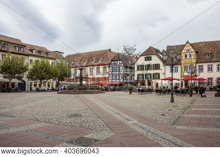 City View Of Neustadt An Der Weinstraße, A Town In The Rhineland-palatinate In Germany