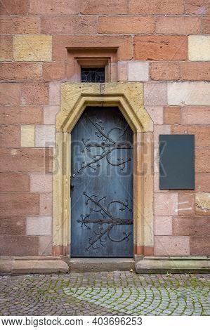 Historic Door Seen In Neustadt An Der Weinstraße, A Town In The Rhineland-palatinate In Germany