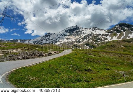Mountain Landscape Along The Road To Stelvio Pass, Sondrio Province, Lombardy, Italy, At Summer.