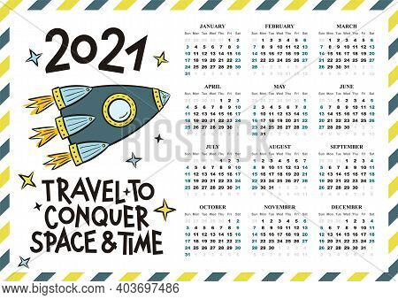 Airmail Calendar Template. 2021 Yearly Calendar. 12 Months Yearly Calendar Set In 2021. Hand Drawn R