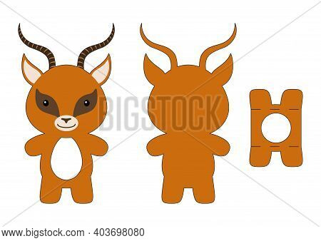 Cute Die Cut Gazelle Chocolate Egg Holder Template. Retail Paper Box For The Easter Egg. Printable C