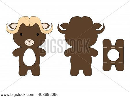Cute Die Cut Musk-ox Chocolate Egg Holder Template. Retail Paper Box For The Easter Egg. Printable C