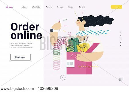 Discounts, Sale, Promotion - Online Shopping Web Template- Modern Flat Vector Concept Illustration O
